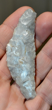 A nicely patinated and pleasant Danish Neolithic flint Sickle / knife. SOLD